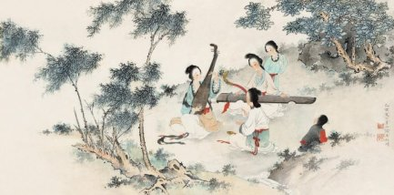 Paintings of traditional Jiangnan Sī Zhú – typical indoor small ensembles